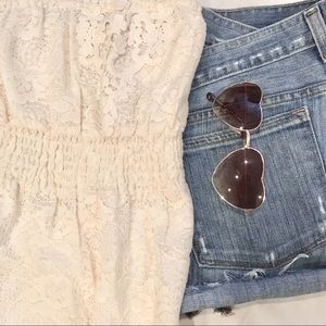 Free People White Lace Flowing Tube Top